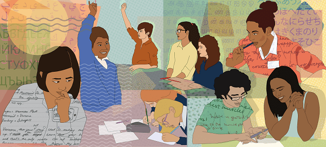 Illustration showing students thinking, collaborating and engaging in classroom. In the background, letters of the alphabet from different languages.